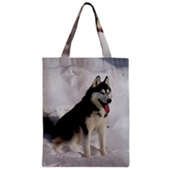 Siberian Husky Sitting in snow Zipper Classic Tote Bag
