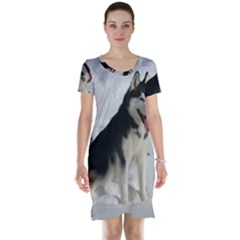 Siberian Husky Sitting in snow Short Sleeve Nightdress