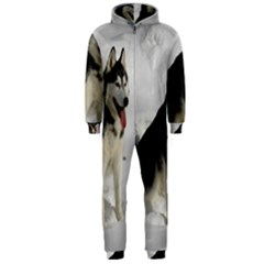 Siberian Husky Sitting in snow Hooded Jumpsuit (Men)