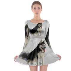 Siberian Husky Sitting in snow Long Sleeve Skater Dress