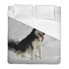 Siberian Husky Sitting in snow Duvet Cover (Full/ Double Size)