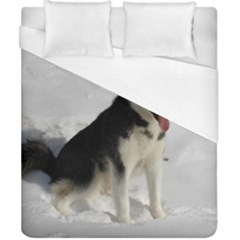 Siberian Husky Sitting in snow Duvet Cover (California King Size)