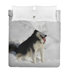Siberian Husky Sitting in snow Duvet Cover Double Side (Full/ Double Size)