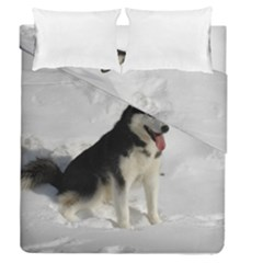 Siberian Husky Sitting in snow Duvet Cover Double Side (Queen Size)