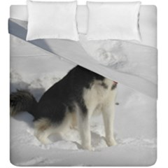 Siberian Husky Sitting in snow Duvet Cover Double Side (King Size)