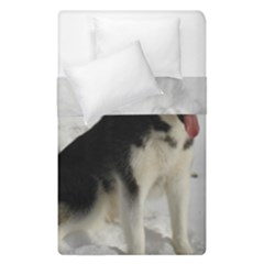 Siberian Husky Sitting in snow Duvet Cover Double Side (Single Size)