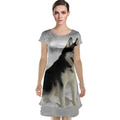 Siberian Husky Sitting in snow Cap Sleeve Nightdress