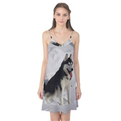Siberian Husky Sitting in snow Camis Nightgown