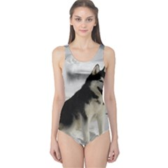 Siberian Husky Sitting in snow One Piece Swimsuit