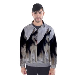 Siberian Husky Sitting in snow Wind Breaker (Men)