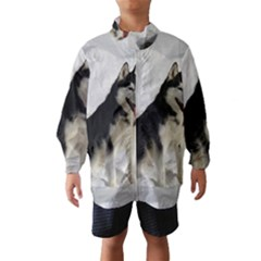 Siberian Husky Sitting in snow Wind Breaker (Kids)