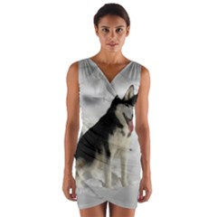 Siberian Husky Sitting in snow Wrap Front Bodycon Dress