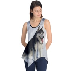Siberian Husky Sitting in snow Sleeveless Tunic