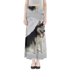 Siberian Husky Sitting in snow Maxi Skirts