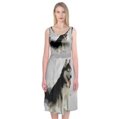 Siberian Husky Sitting in snow Midi Sleeveless Dress