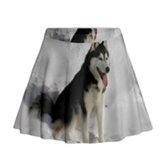 Siberian Husky Sitting in snow Mini Flare Skirt
