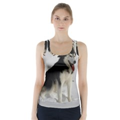 Siberian Husky Sitting in snow Racer Back Sports Top