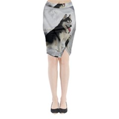 Siberian Husky Sitting in snow Midi Wrap Pencil Skirt