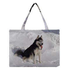 Siberian Husky Sitting in snow Medium Tote Bag