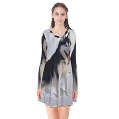 Siberian Husky Sitting in snow Flare Dress