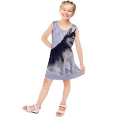 Siberian Husky Sitting in snow Kids  Tunic Dress