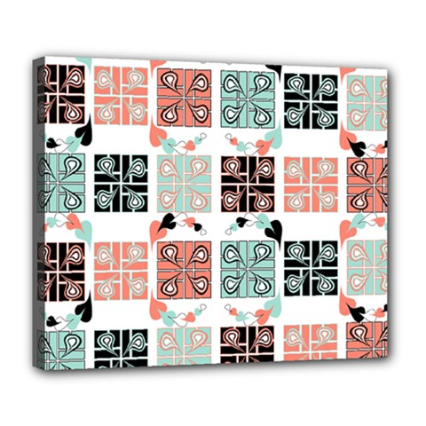 Mint Black Coral Heart Paisley Deluxe Canvas 24  x 20