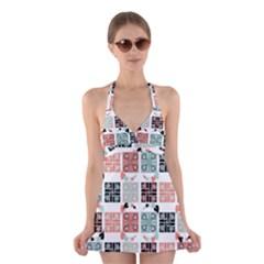 Mint Black Coral Heart Paisley Halter Swimsuit Dress
