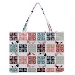 Mint Black Coral Heart Paisley Medium Zipper Tote Bag