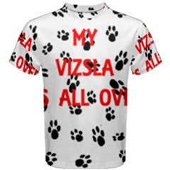 My Vizsla Walks On Me  Men s Cotton Tee