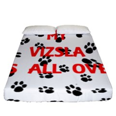 My Vizsla Walks On Me  Fitted Sheet (Queen Size)