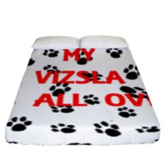 My Vizsla Walks On Me  Fitted Sheet (King Size)