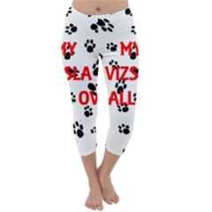 My Vizsla Walks On Me  Capri Winter Leggings