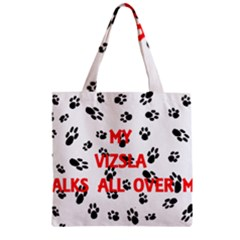 My Vizsla Walks On Me  Zipper Grocery Tote Bag