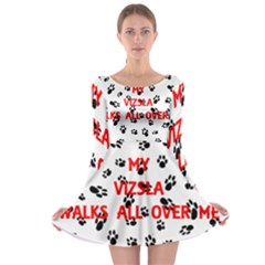 My Vizsla Walks On Me  Long Sleeve Skater Dress