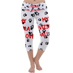 My Vizsla Walks On Me  Capri Yoga Leggings