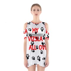 My Vizsla Walks On Me  Cutout Shoulder Dress