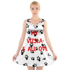 My Vizsla Walks On Me  V-Neck Sleeveless Skater Dress