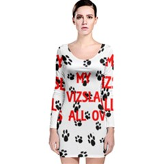 My Vizsla Walks On Me  Long Sleeve Velvet Bodycon Dress