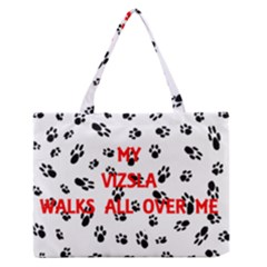 My Vizsla Walks On Me  Medium Zipper Tote Bag