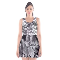 Mosaic Stones Glass Pattern Scoop Neck Skater Dress