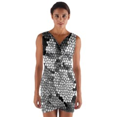 Mosaic Stones Glass Pattern Wrap Front Bodycon Dress
