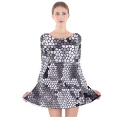 Mosaic Stones Glass Pattern Long Sleeve Velvet Skater Dress