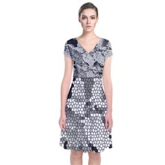 Mosaic Stones Glass Pattern Short Sleeve Front Wrap Dress