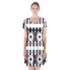 Pattern Background Texture Black Short Sleeve V-neck Flare Dress