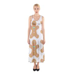 Pattern Christmas Biscuits Pastries Sleeveless Maxi Dress