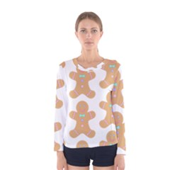 Pattern Christmas Biscuits Pastries Women s Long Sleeve Tee