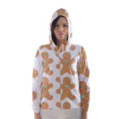 Pattern Christmas Biscuits Pastries Hooded Wind Breaker (Women)