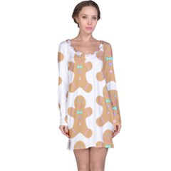 Pattern Christmas Biscuits Pastries Long Sleeve Nightdress