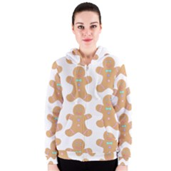 Pattern Christmas Biscuits Pastries Women s Zipper Hoodie