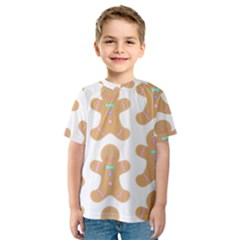 Pattern Christmas Biscuits Pastries Kids  Sport Mesh Tee